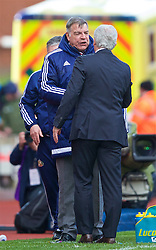 STOKE-ON-TRENT, ENGLAND - Saturday, April 30, 2016: Sunderland's manager Sam Allardyce and Stoke City's manager Mark Hughes during the FA Premier League match at the Britannia Stadium. (Pic by David Rawcliffe/Propaganda)