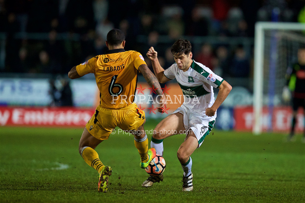 NEWPORT, WALES - Wednesday, December 21, 2016: Plymouth Argyle's Connor Smith in action against Newport County during the FA Cup 2nd Round Replay match at Rodney Parade. (Pic by David Rawcliffe/Propaganda)