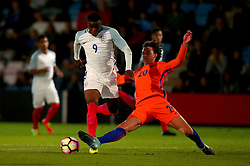 Stephen Mavididi of England Under 20s is tackled by Phillippe Sandler of Netherlands Under 20s - Mandatory by-line: Robbie Stephenson/JMP - 31/08/2017 - FOOTBALL - Telford AFC - Telford, United Kingdom - England v The Netherlands - International Friendly
