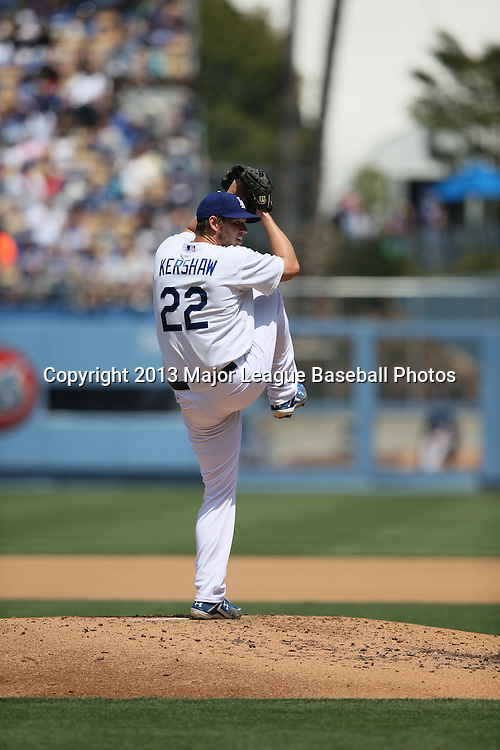 LOS ANGELES, CA - APRIL 28:  Clayton Kershaw #22 of the Los Angeles Dodgers pitches during the game against the Milwaukee Brewers on Sunday, April 28, 2013 at Dodger Stadium in Los Angeles, California. The Dodgers won the game 2-0. (Photo by Paul Spinelli/MLB Photos via Getty Images) *** Local Caption *** Clayton Kershaw