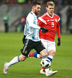 November 11, 2017 - Moscow, Russia - November 11, 2017. Russia, Moscow, Luzhniki Stadium. Friendly Football Match. Argentina's player Lionel Messi and Russia player Aleksandr Kokorin during match between national teams of Russia and Argentina (Credit Image: © Russian Look via ZUMA Wire)