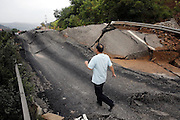 TIANSHUI, CHINA -  (CHINA OUT) <br /> <br /> 22 Dead In Gansu Landslides<br /> <br /> A road is destroyed by landslide  in Tianshui, Gansu Province of China. At least 22 people were killed and three others missing after rainstorm-triggered floods and landslides hit many places of Tianshui city recently. <br /> ©Exclusivepix