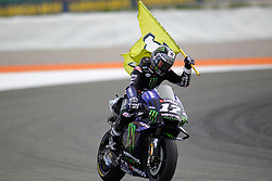 November 17, 2019, Cheste, VALENCIA, SPAIN: Maverick Vinales, rider of Monster Energy Yamaha MotoGP from Spain, celebrates during the MotoGP Race of the Valencia Grand Prix of MotoGP World Championship celebrated at Circuit Ricardo Tormo on November 16, 2019, in Cheste, Spain. (Credit Image: © AFP7 via ZUMA Wire)