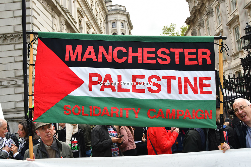 Thousands continues rally outside Downing street of the Nakba: National Demonstration for Palestine commemorating 71 years since the Nakba (catastrophe). On 15th May 1948 over 750,000 Palestinians were expelled from their land during the establishment of the state of Israel ahead of the Nakba (catastrophe). on this day 15th May 1948 march through central on 11 May 2019, London, UK.