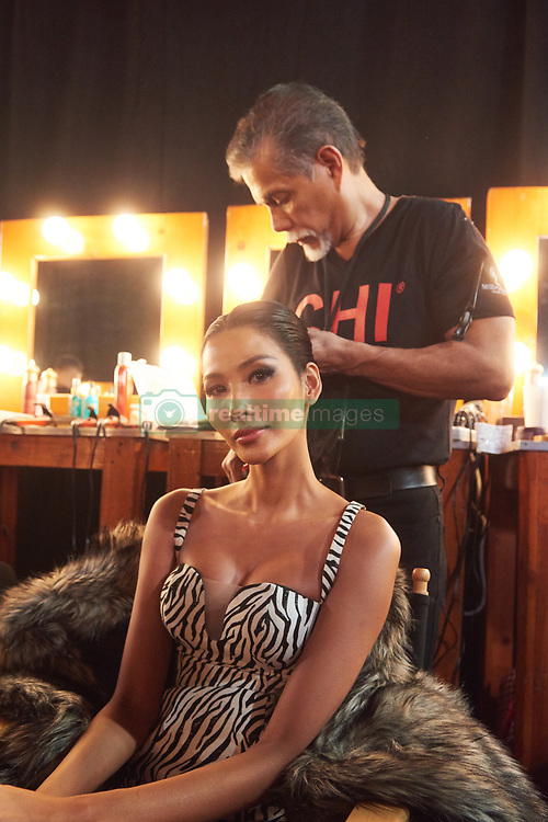 December 8, 2019, Atlanta, Georgia, USA: Thuy Hoang, Miss Vietnam 2019 gets hair done by a stylist from Farouk Systems, the Makers of CHI & Biosilk backstage during The Miss Universe Competition telecast, held at Tyler Perry Studios. Contestants from around the globe have spent the last few weeks touring, filming, rehearsing and preparing to compete for the Miss Universe crown. (Credit Image: © Benjamin Askinas/Miss Universe Organization via ZUMA Wire)