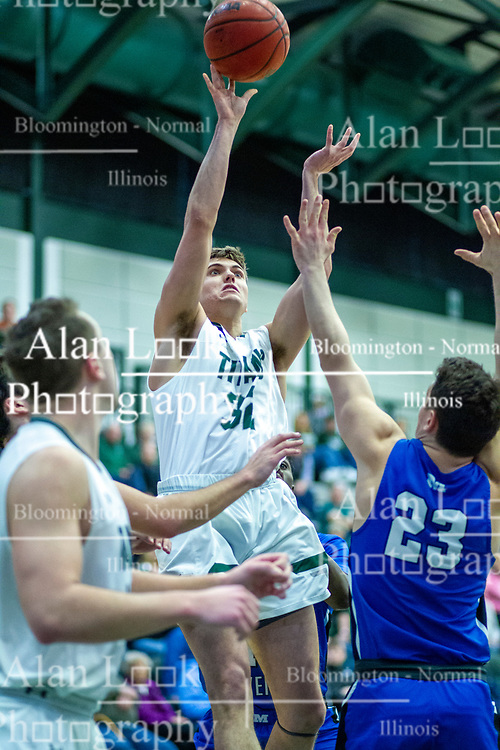 BLOOMINGTON, IL - January 04: Colin Cheaney during a college basketball game between the IWU Titans  and the Millikin Big Blue on January 04 2020 at Shirk Center in Bloomington, IL. (Photo by Alan Look)