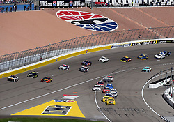 March 4, 2018 - Las Vegas, NV, U.S. - LAS VEGAS, NV - MARCH 04: Joey Logano (22) Team Penske Pennzoil Ford Fusion and Ryan Blaney (12) Team Penske Ford Fusion lead the field onto pit row while under caution during the Monster Energy NASCAR Cup Series Pennzoil 400 on March 04, 2018 at Las Vegas Motor Speedway in Las Vegas, NV. (Photo by Chris Williams/Icon Sportswire) (Credit Image: © Chris Williams/Icon SMI via ZUMA Press)