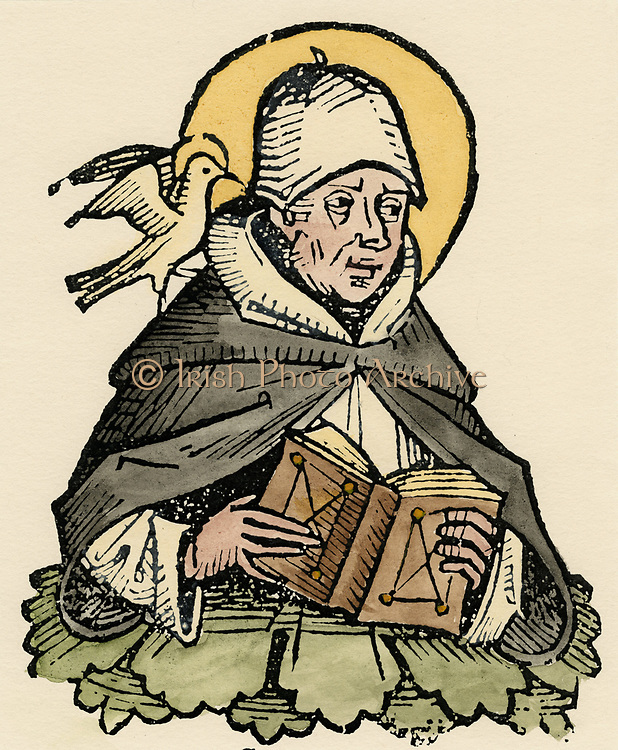 St Thomas Aquinas (c1225-1274) Italian philosopher and theologian. Joined Dominican order (Black friars), studied under Albertus Magnus. Wrote commentaries on Aristotle. Concept of Just War. Here with halo, holding an open book. The Dove of the Holy Spirit  rests on his shoulder.