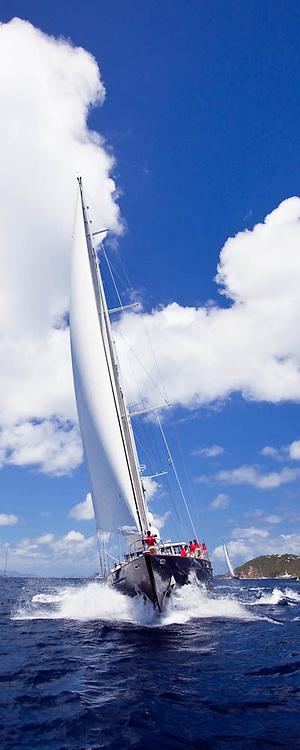 Axia sailing in the 2010 St. Barth's Bucket superyacht regatta, race 1.