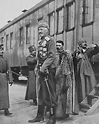 Grand Duke Nikolay Nikolayevich Romanov of Russia, 1856-1929, in the Caucasus, photograph published by L'Illustration no.3865, 31st March 1917. During the February Revolution, the grand duke was in the Caucasus and was appointed supreme commander in chief by the Emperor, an appointment which was cancelled 24 hours later by the new premier, Prince Georgy Lvov. He died in exile in 1929. Picture by Manuel Cohen