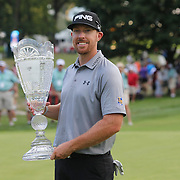 Hunter Mahan, winner of The Barclays with the trophy at theThe Barclays Golf Tournament at The Ridgewood Country Club, Paramus, New Jersey, USA. 24th August 2014. Photo Tim Clayton