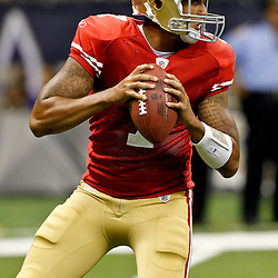 August 12, 2011; New Orleans, LA, USA; San Francisco 49ers quarterback Colin Kaepernick (7) against the New Orleans Saints during the second half of a preseason game at the Louisiana Superdome. The New Orleans Saints defeated the San Francisco 49ers Mandatory Credit: Derick E. Hingle