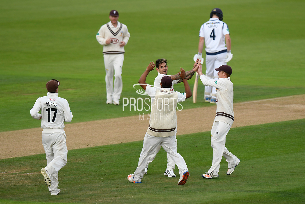 Wicket - Jade Dernbach of Surrey celebrates taking the wicket of Joe Weatherley of Hampshire who was bowled during the Specsavers County Champ Div 1 match between Hampshire County Cricket Club and Surrey County Cricket Club at the Ageas Bowl, Southampton, United Kingdom on 6 September 2017. Photo by Graham Hunt.
