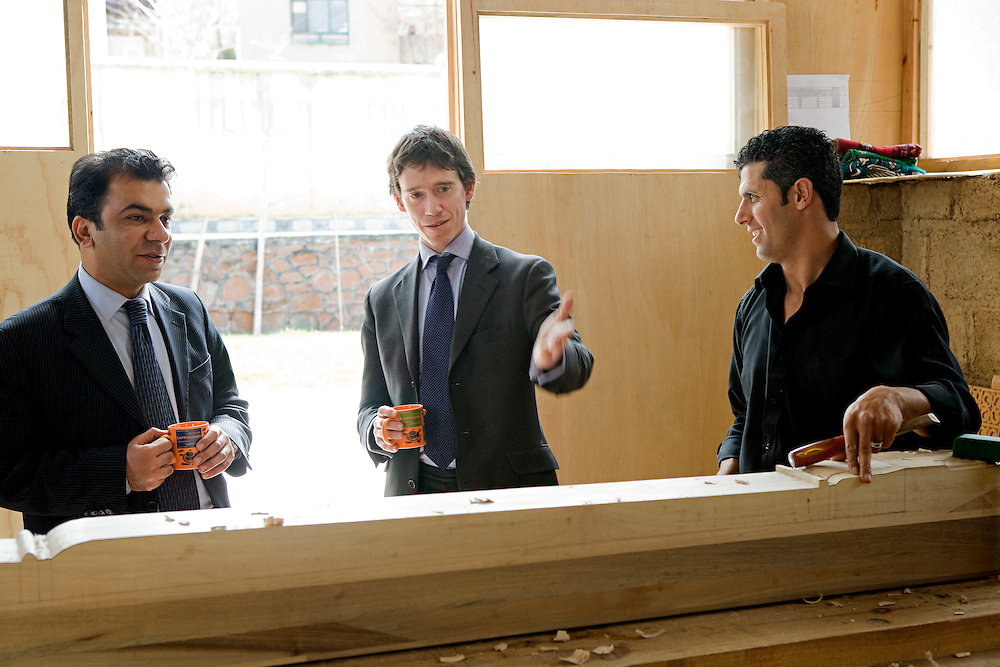 Author, academic, former soldier and diplomat and founder of Turquoise Mountain Foundation (TMF)  Rory Stewart shows guests around the TMF projects in Kabul, Afghanistan on the 29th of March 2009..
