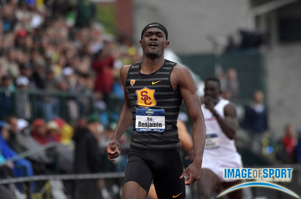 Jun 8, 2018; Eugene, OR, USA; Rai Benjamin of Southern California wins the 400m hurdles in a collegiate record 47.02 during the NCAA Track and Field championships at Hayward Field.
