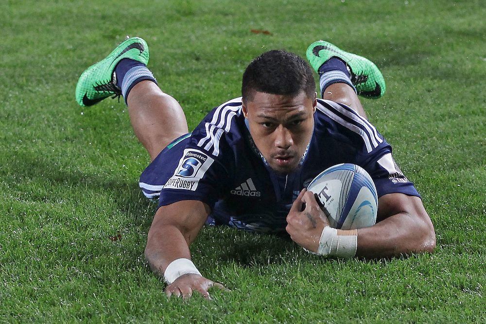 Blues' George Moala  scores a try against the Hurricanes in a Super Rugby match, Eden Park, Auckland, New Zealand, Saturday, May 31, 2014.  Credit:SNPA / David Rowland