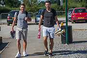Forest Green Rovers Scott Laird(3) and Luke James during the first day back at training for Forest Green Rovers at the New Lawn, Forest Green, United Kingdom on 2 July 2018. Picture by Shane Healey.