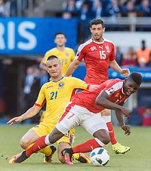 15.06.2016, Parc de Princes, Paris, FRA, UEFA Euro, Frankreich, Rumaenien vs Schweiz, Gruppe A, im Bild Dragos Grigore (ROU), Blerim Dzemaili (SUI), Breel Embolo (SUI) // Dragos Grigore (ROU), Blerim Dzemaili (SUI), Breel Embolo (SUI) during Group A match between Romania and Switzerland of the UEFA EURO 2016 France at the Parc de Princes in Paris, France on 2016/06/15. EXPA Pictures © 2016, PhotoCredit: EXPA/ JFK