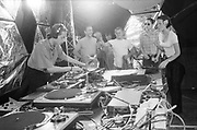 DJ spinning tunes, Ashton Court Festival, Bristol, UK, 1995.