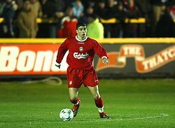 SOUTHPORT, ENGLAND - Tuesday, January 13, 2004: Liverpool's Carl Medjani in action against Everton during the 'mini-Derby' Premier League reserve match at Haige Avenue. (Pic by David Rawcliffe/Propaganda)