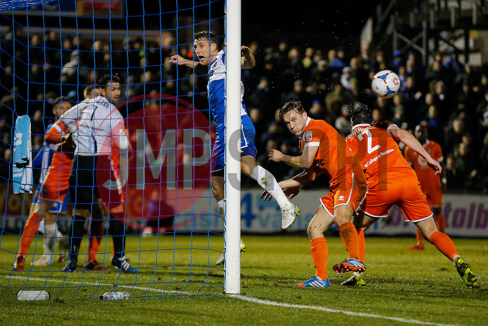 Lee Brown of Bristol Rovers cant connect with a header - Photo mandatory by-line: Rogan Thomson/JMP - 07966 386802 - 24/02/2015 - SPORT - FOOTBALL - Bristol, England - Memorial Stadium - Bristol Rovers v Braintree Town - Vanarama Conference Premier.