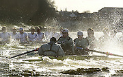 Photo. © Peter Spurrier/IntersportImages.13/03/2004  - Rowing -Cambridge Blue Boat v Leander.Cambridge [near] and Leander,with a lead, move into the Hammersmith Bend and the rougher water.[Mandatory Credit Peter Spurrier/ Intersport Images] Varsity: Boat Race Rowing Course: River Thames, Championship course, Putney to Mortlake 4.25 Miles [Mandatory Credit: Peter Spurrier/Intersport Images] . Rough Water and Spray. Rough, Choppy, Water, Conditions.