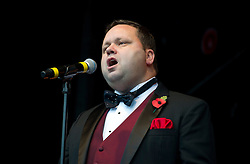 Paul Potts performing at Trafalgar Square for 'Silence in the Square for the Two minute silence in Trafalgar Square for Armistice Day-. London, United Kingdom. Monday, 11th November 2013. Picture by i-Images