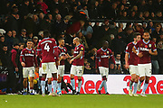 Aston Villa players celebrate during the EFL Sky Bet Championship match between Derby County and Aston Villa at the Pride Park, Derby, England on 10 November 2018.