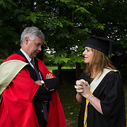 "25.08.2016          <br />  Faculty of Business, Kemmy Business School graduations at the University of Limerick today. <br /> <br /> Attending the conferring was Higher Certificate in Supervisory and Human Resources Practice graduate, Fiona Steed and Dr. Philip O'Regan, Dean Kemmy Business School. Picture: Alan Place.<br /> <br /> <br /> As the University of Limerick commences four days of conferring ceremonies which will see 2568 students graduate, including 50 PhD graduates, UL President, Professor Don Barry highlighted the continued demand for UL graduates by employers; ""Traditionally UL's Graduate Employment figures trend well above the national average. Despite the challenging environment, UL's graduate employment rate for 2015 primary degree-holders is now 14% higher than the HEA's most recently-available national average figure which is 58% for 2014"". The survey of UL's 2015 graduates showed that 92% are either employed or pursuing further study."" Picture: Alan Place"