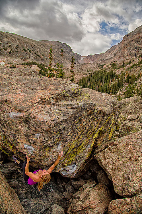 "Pro boulderer Angie Payne climbing ""Tommy's Arete,"" V7, Chaos Canyon, Rocky Mountain National Park."