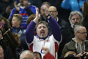 An England fan sings the national anthem during the 2015 Under 20s 6 Nations match between England and France at the American Express Community Stadium, Brighton and Hove, England on 20 March 2015.