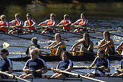 Boston, USA, Youth Men's Eights , approach Eliot Bridge and Cambridge Boat Club, at the Head of the Charles Race, Charles River, Cambridge,  Massachusetts. Saturday  21/10/2007 [Mandatory Credit Peter Spurrier/Intersport Images]..... , Rowing Course; Charles River. Boston. USA