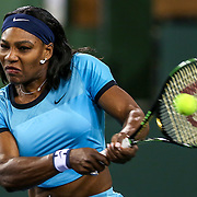 March 18, 2016, Palm Springs, CA:<br /> Serena Williams in action the women's semi-final match against Agnieszka Radwanska during the 2016 BNP Paribas Open at the Indian Wells Tennis Garden in Indian Wells, California Friday, March 18, 2016.<br /> (Photos by Billie Weiss/BNP Paribas Open)