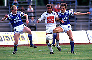 04.07.1991, Pori, Finland.Jalkapalloliiga / Finnish League, .Jorma Heinonen (Porin Pallo-Toverit) v Jyrki Huhtam?ki (oik.) & Jyrki H?m?l?inen (Mikkelin Palloilijat).©JUHA TAMMINEN