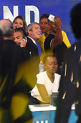 """Celebrities at the """"Hand to hand"""" telethon in Times square, New York City. 12 Sep 2017 Pictured: Andy Cohen, Lupita Nyong'o. Photo credit: MEGA TheMegaAgency.com +1 888 505 6342"""