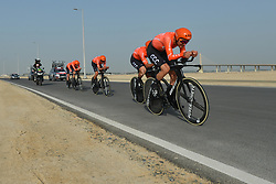 February 24, 2019 - Abu Dhabi, United Arab Emirates - Members of CCC Team from Poland, in action during the Team Time Trial, the opening ADNOC stage of the inaugural UAE Tour 2019..On Sunday, February 24, 2019, Abu Dhabi, United Arab Emirates. (Credit Image: © Artur Widak/NurPhoto via ZUMA Press)