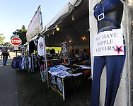 STURGIS, SOUTH DAKOTA - AUGUST 2010:  A vendor sells their wares off of Main Street in downtown Sturgis, South Dakota during the 70th annual Sturgis Motorcycle Rally held in the Black Hills.  The attendance estimates were placed between 500, 000 and 700,000 bikers.