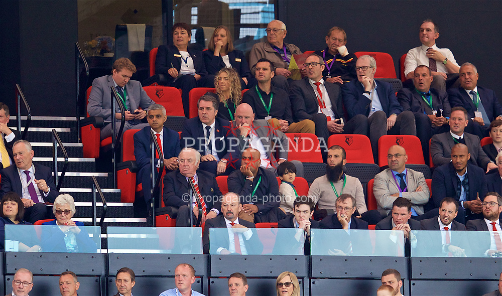 WATFORD, ENGLAND - Saturday, August 12, 2017: Mayor of London Sadiq Khan, Labour MP Steve Rotheram, Liverpool FC's Head of Club and Supporter Liaison Tony Barrett, comedian Jimmy Tarbuck and Liverpool's chief executive officer Peter Moore look on during the FA Premier League match between Watford and Liverpool at Vicarage Road. (Pic by David Rawcliffe/Propaganda)