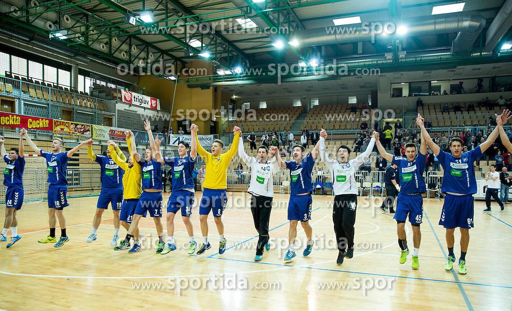 Players of Koper celebrate after winning during handball match between RK Koper 2013 and RK Dol TKI Hrastnik for 3rd place of Slovenian Handball Cup 2015, on March 29, 2015 in Arena Bonifika, Koper, Slovenia. Photo by Vid Ponikvar / Sportida