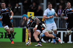 Exeter Chiefs Jack Nowell goes over for a try  - Photo mandatory by-line: Harry Trump/JMP - Mobile: 07966 386802 - 14/02/15 - SPORT - Rugby - Aviva Premiership - Sandy Park, Exeter, England - Exeter Chiefs v Newcastle Falcons