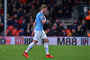 Substitution - Kevin De Bruyne (17) of Manchester City walks of to be replaced by Riyad Mahrez (26) of Manchester City during the Premier League match between Bournemouth and Manchester City at the Vitality Stadium, Bournemouth, England on 2 March 2019.