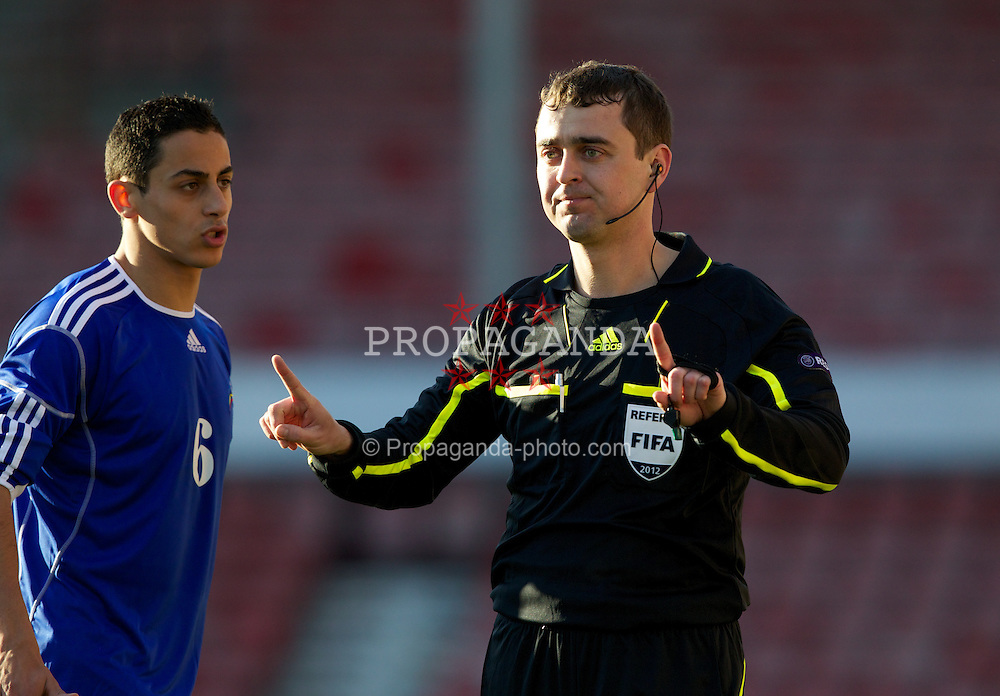 WREXHAM, WALES - Wednesday, February 29, 2012: Referee Vital Sevastsyanik (Belarus) during the UEFA Under-21 Championship Qualifying Group 3 match between Wales and Andorra at the Racecourse Ground. (Pic by Vegard Grott/Propaganda)