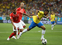 ROSTOV-ON-DON, June 17, 2018  Paulinho (R front) of Brazil vies with Manuel Akanji (L front) of Switzerland during a group E match between Brazil and Switzerland at the 2018 FIFA World Cup in Rostov-on-Don, Russia, June 17, 2018. (Credit Image: © Li Ming/Xinhua via ZUMA Wire)