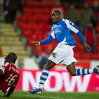 St Johnstone v Aberdeen.....30.01.13      SPL<br /> Gregory Tade scores for saints<br /> Picture by Graeme Hart.<br /> Copyright Perthshire Picture Agency<br /> Tel: 01738 623350  Mobile: 07990 594431
