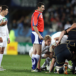 AUCKLAND, NEW ZEALAND - OCTOBER 01, Referee Craig Joubert SARU chats to the forwards at scrum time during the 2011 IRB Rugby World Cup match between England and Scotland at Eden Park on October 01, 2011 in Auckland, New Zealand<br /> Photo by Steve Haag / Gallo Images