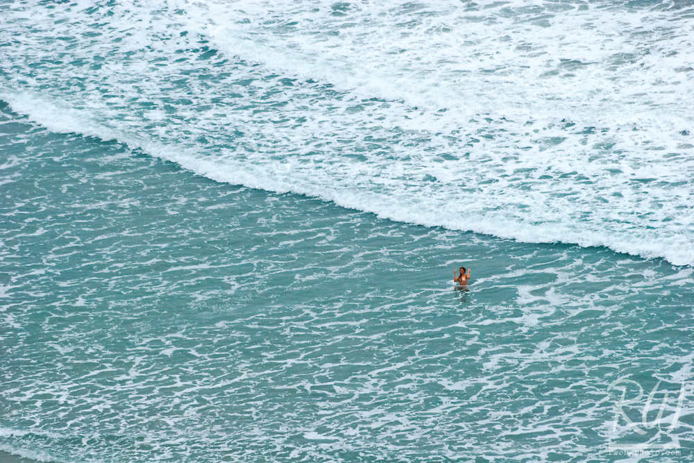 Nude Female Model in Ocean at Black's Beach, La Jolla, California