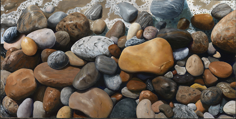 The popular Long Island surfing beach, Ditch Plains, is also lined with a variety of colorful rocks that glisten when wet.  This oil painting captures a wave washing over them, and bringing out their deep colors. <br />