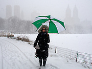 Casual encounter with an umbrella-wielding lady at The Lake in Central Park during this year's blizzard.