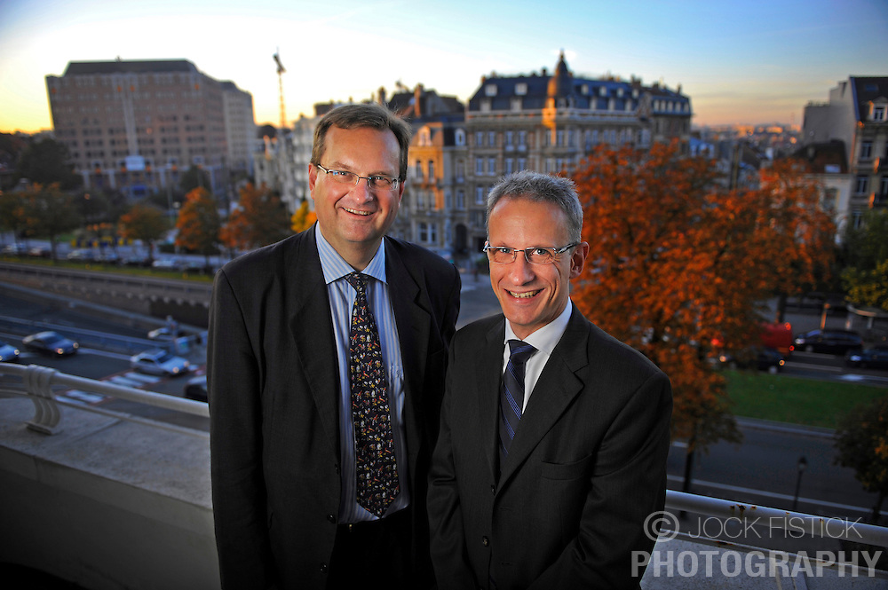 Mats Nilsson, Vice President of Ericsson's European Affairs Office, left, and Magnus Madfors, Director of R&amp;D policy, on their office terrace in Brussels, Belgium.<br /> Client: Ericsson Contact Magazine