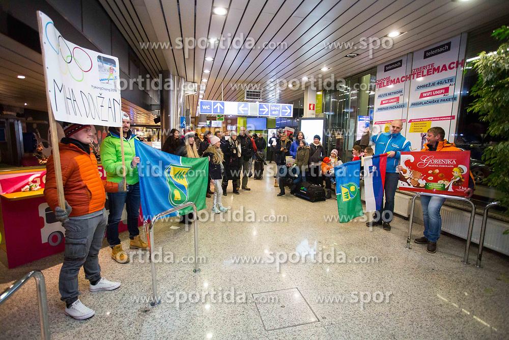 Fans during Arrival of Jakov Fak, Silver medalist at Olympic Games in Pyeongchang 2018, on February 25, 2018 in Aerodrom Ljubljana, Letalisce Jozeta Pucnika, Kranj, Slovenia. Photo by Ziga Zupan / Sportida